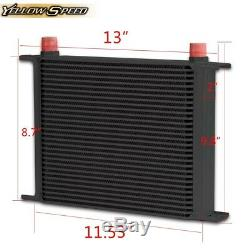 Gplus 30 ROW AN10 Engine Transmission Black Oil Cooler + 7 Electric Fan Kit