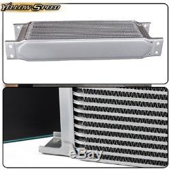 Gplus 30 ROW AN10 Engine Transmission Oil Cooler + 7 Electric Fan Kit Silver