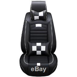 Hot Classic Black White Car Seat Cover PU Leather 5Seat Auto Front+Rear Cushion