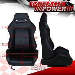 Jdm Reclinable Race Type Black Fabric Cloth Bucket Racing Seats + Sliders Pair