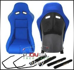 Low Max Style JDM Full Bucket Racing Automotive Car Seats With Sliders Blue Cloth