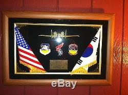 OSAN AIR BASE, ROK KOREA UNITED STATES FLAGS SHADOW BOX 51ST FIGHTER WING MEDALS