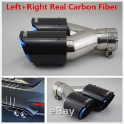 Pair Left+Right Carbon Fiber Car Dual Exhaust Pipe Tail Muffler Tip Chrome Blue