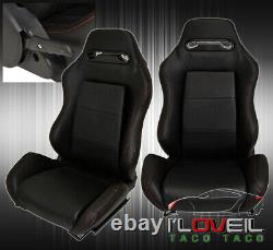 Pair Of Reclinable Bucket Seats Chairs Pvc Leather Sport Racing + Slider Black