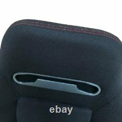 Pair Of Reclinable Bucket Seats Chairs Pvc Leather Sport Racing +Slider Black