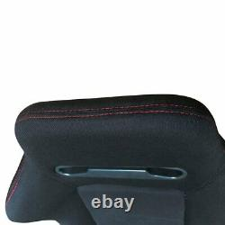 Pair Of Reclinable Bucket Seats Chairs Pvc Leather Sport Racing +Slider Black US