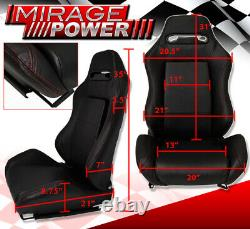 Pair Reclinable Bucket Seats Chairs Pvc Leather Racing + Slider Pairs Black