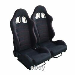 Pair Reclinable Car Racing Seats Chair Slider Sports Bucket Cloth Left & Right