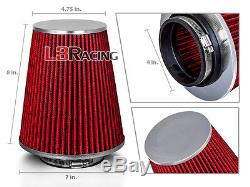 RED 4 Inches 4 Inlet 102mm Cold Air Intake Cone TRUCK FILTER For Dodge