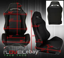 Reclinable Bucket Seats Chairs Drift Racing Track Dtm + Bottom Rail Black