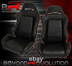 Reclinable Bucket Seats Chairs Pvc Leather Sport Racing + Slider Rails Black