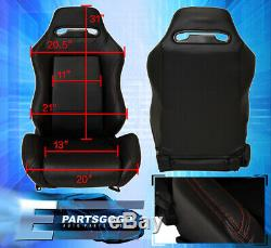 Reclinable Bucket Seats Chairs Sport Racing + Bottom Mount Slider Black