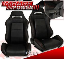 Reclinable Bucket Seats Chairs Sport Style Truck Suv + Slider Black Rails