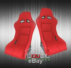 Red Cloth Full Firm Hold Bucket Car Racing Seats With Side Mount Slider Rails Pair