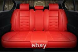 Red PU Leather Car Seat Covers Full Set with Headrests Lumbar Pillows Universal