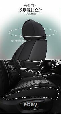 Set Full Surrounded Black PU Leather Seat Covers Cushion+Waist&Headrest Pillows