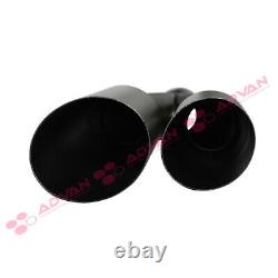 Single Wall Dual Exit Truck Black 17in Weld On Exhaust Tip 2.5 In 3.5 Out 233564