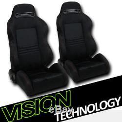 T-R Style Blk Suede Red Stitch Reclinable Racing Bucket Seats withSliders L+R V09
