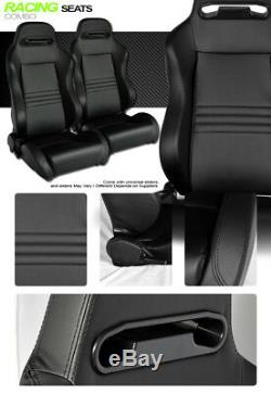 T-R Type Blk Stitch PVC Leather Reclinable Racing Bucket Seats withSliders L+R V09