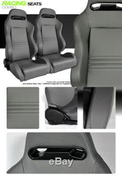 T-R Type Gray Stitch PVC Leather Reclinable Racing Bucket Seats+Sliders L+R V09