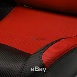 Topline For Chrysler 2x SP PVC Leather Reclinable Racing Seats+Slider -Black/Red