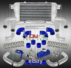 Turbo Charger Blow Off Valve + 12Pc Piping Kit + Fmic Intercooler + T-Clamps Set