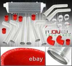 Turbo Intercooler Kit Combo 2.5 Polished Piping Fmic Couplers Red Clamps