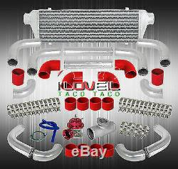 Type-Rs Style Red Turbo Blow Off Valve + Fmic Turbocharger Intercooler + Adapter