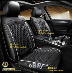 US Stock Breathable Black Full 5D Surround PU Leather Car SUV Seat Cushion Cover
