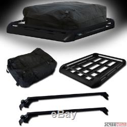 Universal Black 50 Window Roof Rack Cross Bars WithClamp+Basket Container+Bag S06