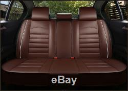 Universal Comfortable Full Set Car Seat Cover 5-Seat PU Leather Cushion WithPillow