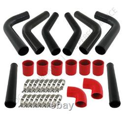 Universal Diy 8Pc 2.5 Turbo Intercooler Black Piping Kit With Red Couplers
