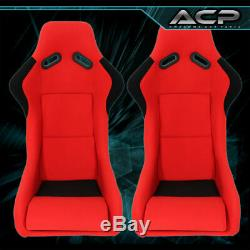 Universal Jdm Red Black Cloth Non-Reclinable Racing Bucket Seat Pair + Sliders
