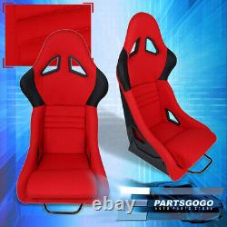 Universal Pair Red Cloth Black Accent Racing Bucket Seats with Adjustable Sliders