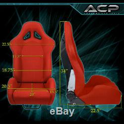 Universal Racing Fully Reclinable Bucket Seat Chair Driver/Passenger Rail Red