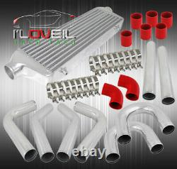 Universal Racing Polish 2.5 In/Out Intercooler + Piping Kit + Red Couplers Hose