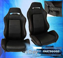 Universal Reclinable Bucket Seats Chairs Pvc Leather Sport Racing + Slider Black