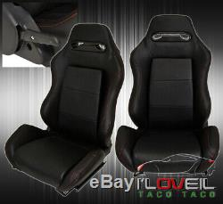 Universal Reclinable Bucket Seats Chairs Sport Racing +Bottom Mount Slider Black