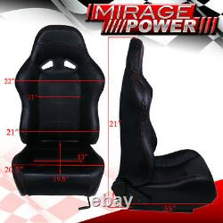 X2 Black Pvc Leather Red Stitching Racing Seats Pair For Nissan 240Sx Sentra S15